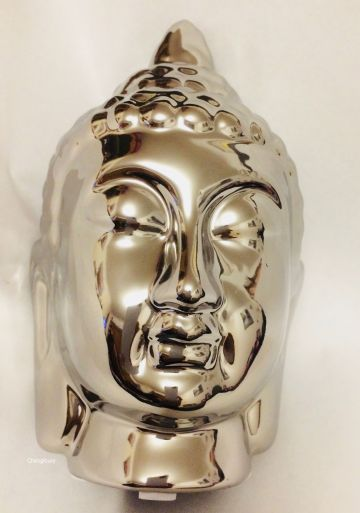 Silver Thai Buddha Head 16cm Tall DF17556
